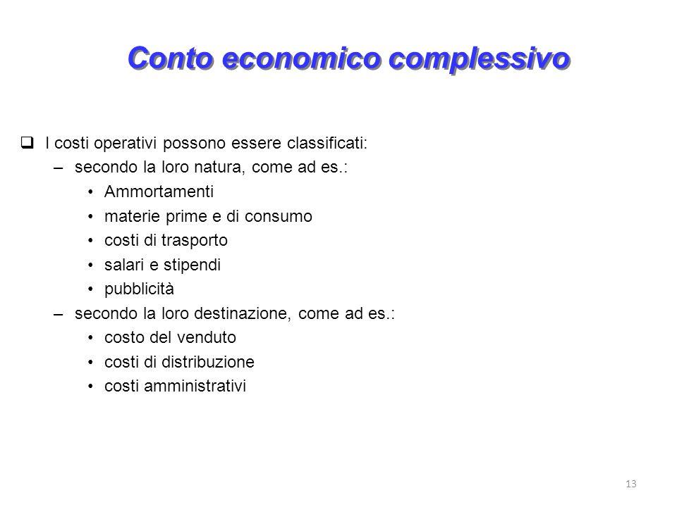 13 Conto economico complessivo I costi operativi possono essere classificati: –secondo la loro natura, come ad es.: Ammortamenti materie prime e di co