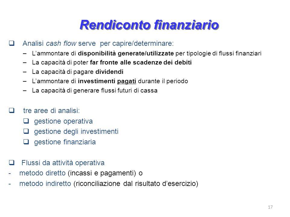 17 Rendiconto finanziario Analisi cash flow serve per capire/determinare: –Lammontare di disponibilità generate/utilizzate per tipologie di flussi fin