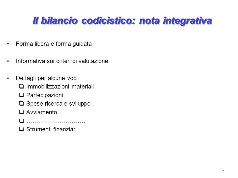 Il bilancio codicistico: nota integrativa Forma libera e forma guidata Informativa sui criteri di valutazione Dettagli per alcune voci: Immobilizzazio