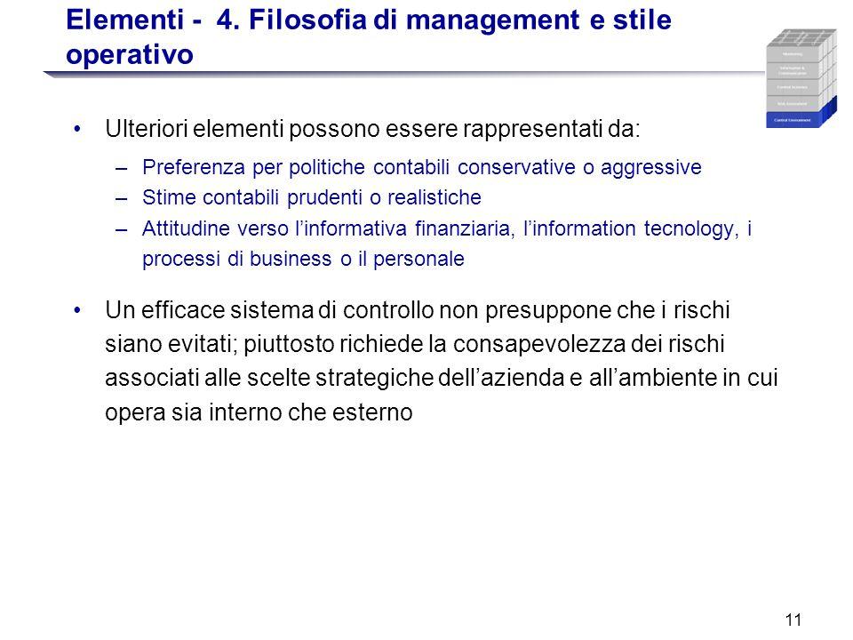 11 Elementi - 4. Filosofia di management e stile operativo Ulteriori elementi possono essere rappresentati da: –Preferenza per politiche contabili con