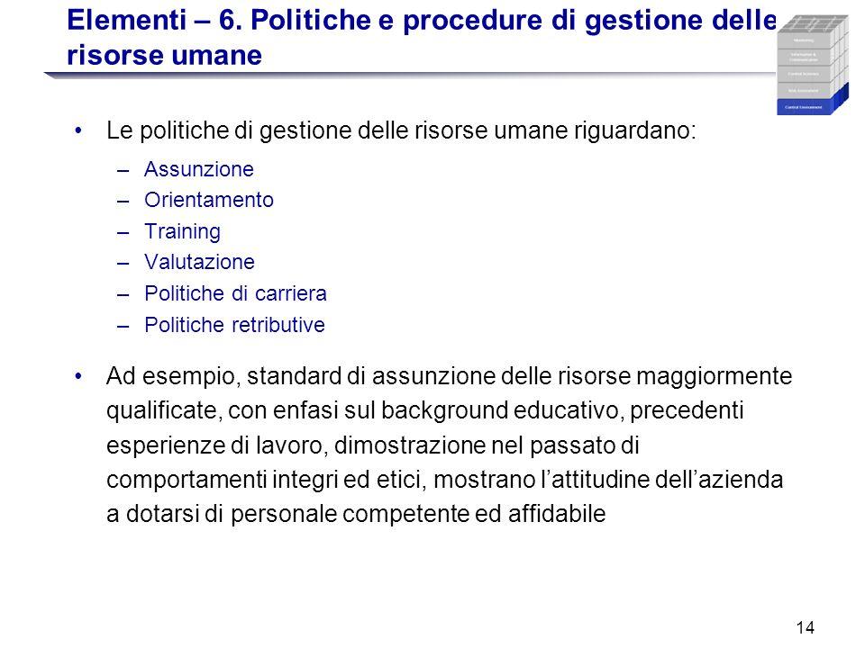 14 Elementi – 6. Politiche e procedure di gestione delle risorse umane Le politiche di gestione delle risorse umane riguardano: –Assunzione –Orientame