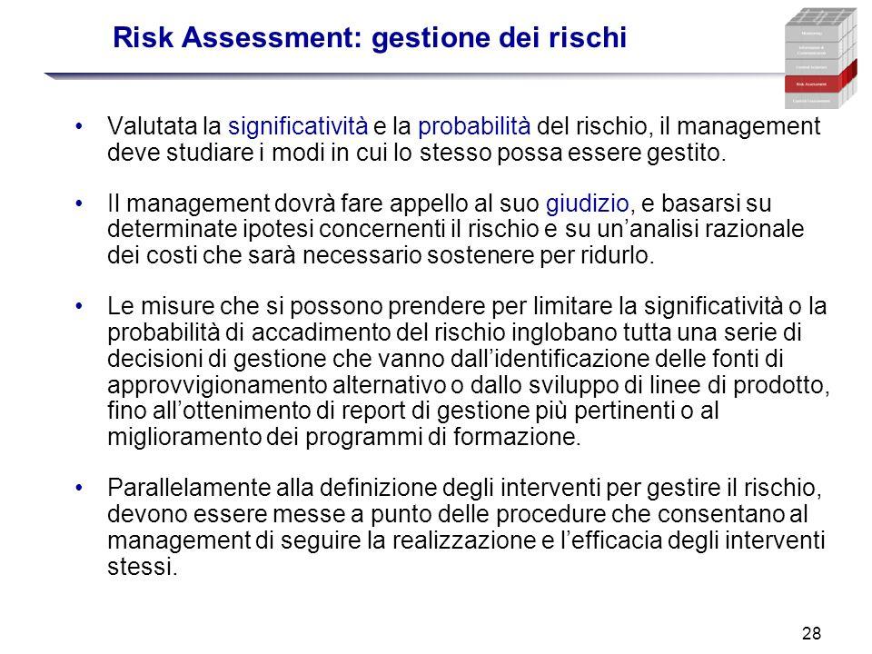 28 Risk Assessment: gestione dei rischi Valutata la significatività e la probabilità del rischio, il management deve studiare i modi in cui lo stesso