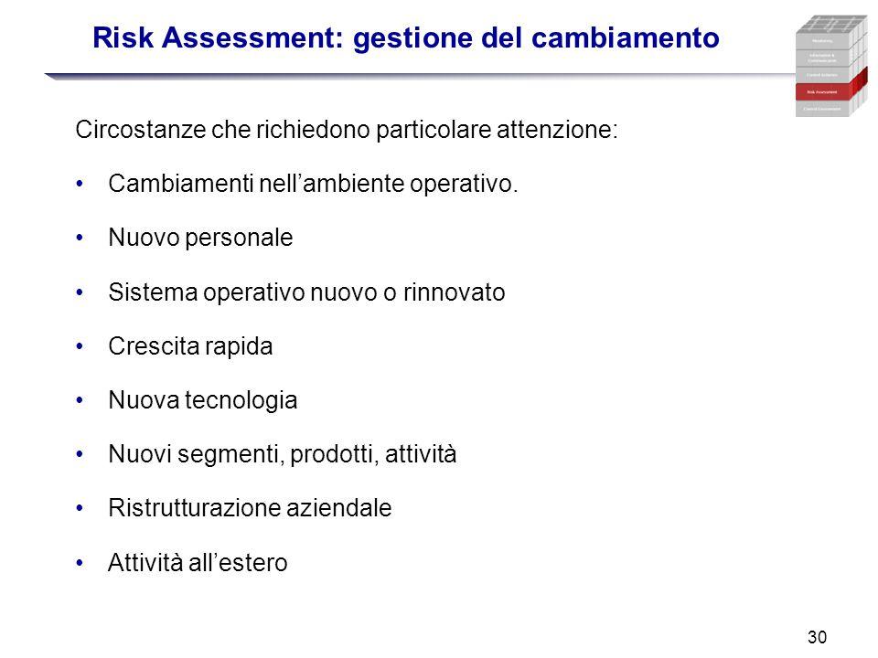 30 Risk Assessment: gestione del cambiamento Circostanze che richiedono particolare attenzione: Cambiamenti nellambiente operativo. Nuovo personale Si
