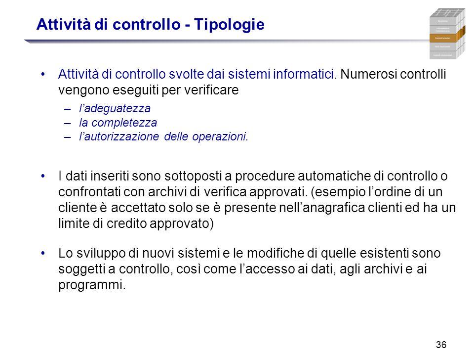 36 Attività di controllo - Tipologie Attività di controllo svolte dai sistemi informatici. Numerosi controlli vengono eseguiti per verificare –ladegua