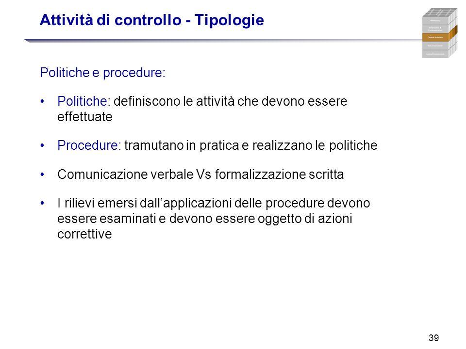 39 Attività di controllo - Tipologie Politiche e procedure: Politiche: definiscono le attività che devono essere effettuate Procedure: tramutano in pr