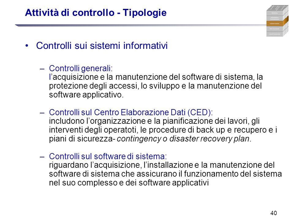 40 Attività di controllo - Tipologie Controlli sui sistemi informativi –Controlli generali: lacquisizione e la manutenzione del software di sistema, l