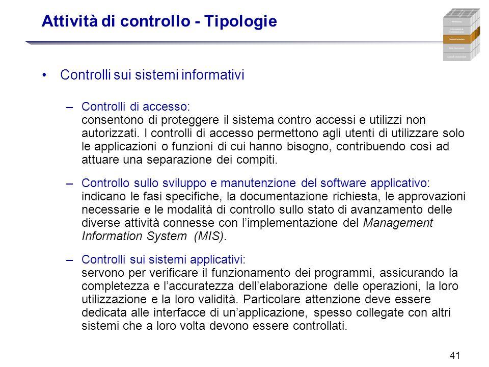 41 Attività di controllo - Tipologie Controlli sui sistemi informativi –Controlli di accesso: consentono di proteggere il sistema contro accessi e uti