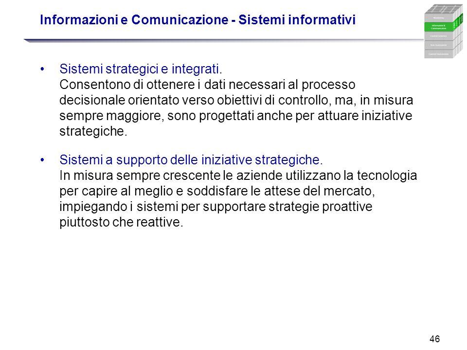 46 Informazioni e Comunicazione - Sistemi informativi Sistemi strategici e integrati. Consentono di ottenere i dati necessari al processo decisionale