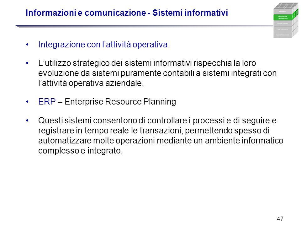 47 Informazioni e comunicazione - Sistemi informativi Integrazione con lattività operativa. Lutilizzo strategico dei sistemi informativi rispecchia la