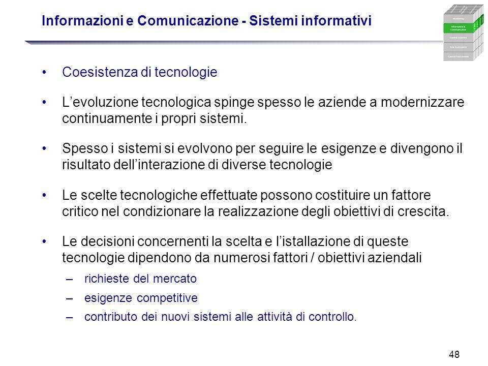 48 Informazioni e Comunicazione - Sistemi informativi Coesistenza di tecnologie Levoluzione tecnologica spinge spesso le aziende a modernizzare contin