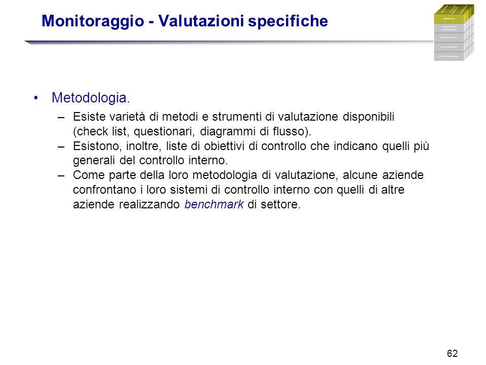 62 Monitoraggio - Valutazioni specifiche Metodologia. –Esiste varietà di metodi e strumenti di valutazione disponibili (check list, questionari, diagr