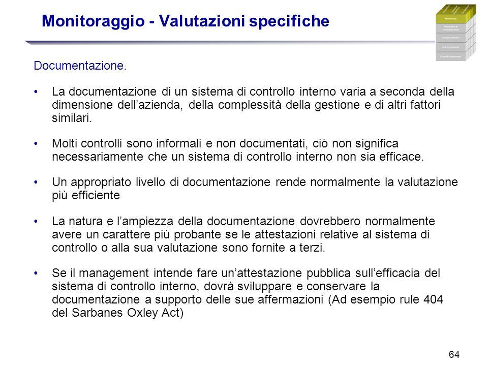 64 Monitoraggio - Valutazioni specifiche Documentazione. La documentazione di un sistema di controllo interno varia a seconda della dimensione dellazi