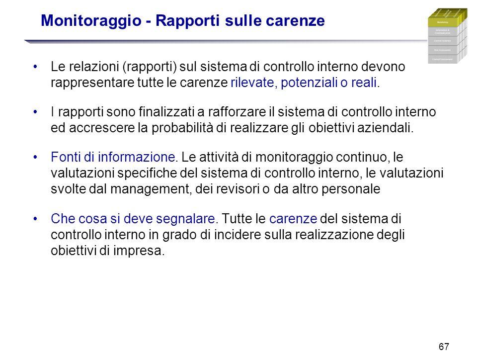 67 Monitoraggio - Rapporti sulle carenze Le relazioni (rapporti) sul sistema di controllo interno devono rappresentare tutte le carenze rilevate, pote
