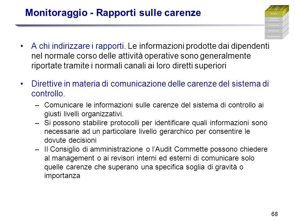 68 Monitoraggio - Rapporti sulle carenze A chi indirizzare i rapporti. Le informazioni prodotte dai dipendenti nel normale corso delle attività operat