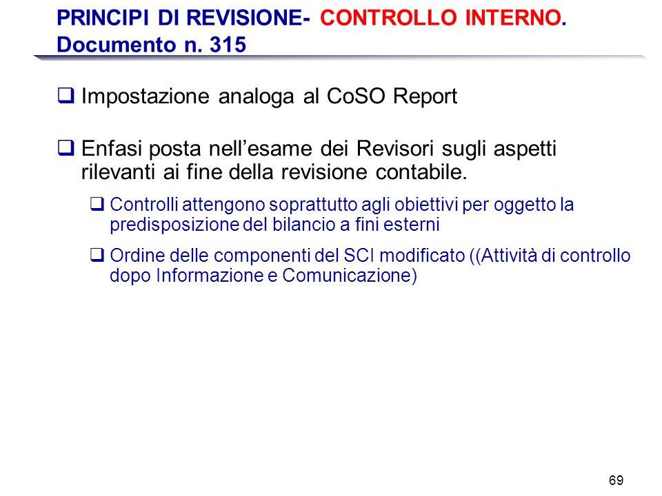 69 PRINCIPI DI REVISIONE- CONTROLLO INTERNO. Documento n. 315 Impostazione analoga al CoSO Report Enfasi posta nellesame dei Revisori sugli aspetti ri
