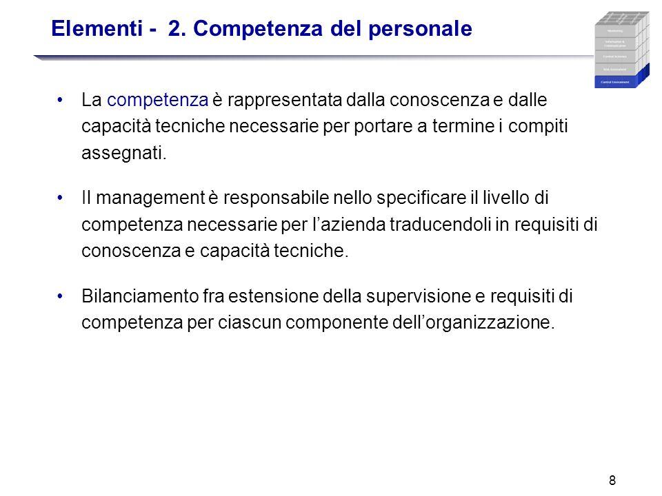 8 Elementi - 2. Competenza del personale La competenza è rappresentata dalla conoscenza e dalle capacità tecniche necessarie per portare a termine i c