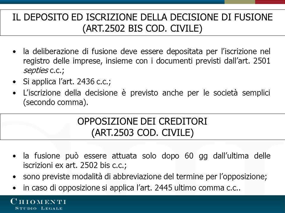 IL DEPOSITO ED ISCRIZIONE DELLA DECISIONE DI FUSIONE (ART.2502 BIS COD. CIVILE) la deliberazione di fusione deve essere depositata per liscrizione nel