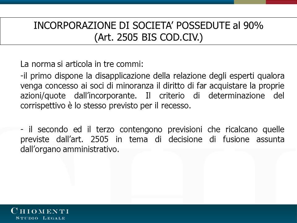 La norma si articola in tre commi: -il primo dispone la disapplicazione della relazione degli esperti qualora venga concesso ai soci di minoranza il d