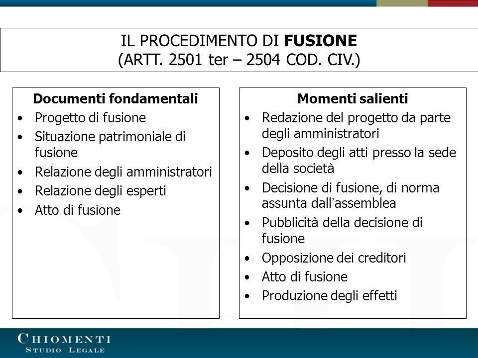 IL PROGETTO DI FUSIONE (ARTT.2501 TER COD.