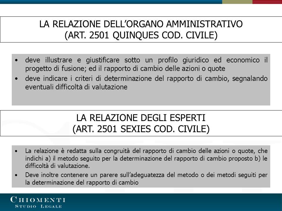 LA RELAZIONE DEGLI ESPERTI (ART.2501 SEXIES COD.