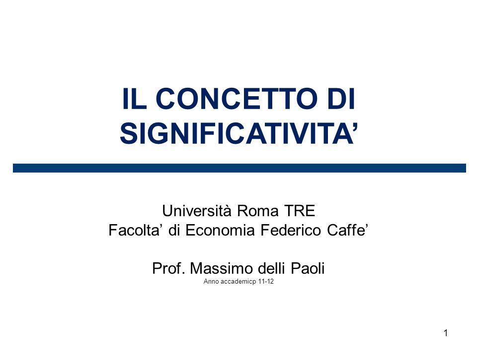 1 IL CONCETTO DI SIGNIFICATIVITA Università Roma TRE Facolta di Economia Federico Caffe Prof. Massimo delli Paoli Anno accademicp 11-12