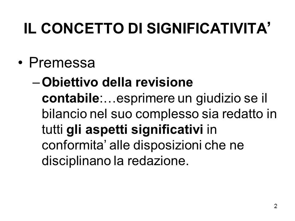 13 IL CONCETTO DI SIGNIFICATIVITA Limite quantitativo delle rettifiche e delle riclassificazioni proposte.