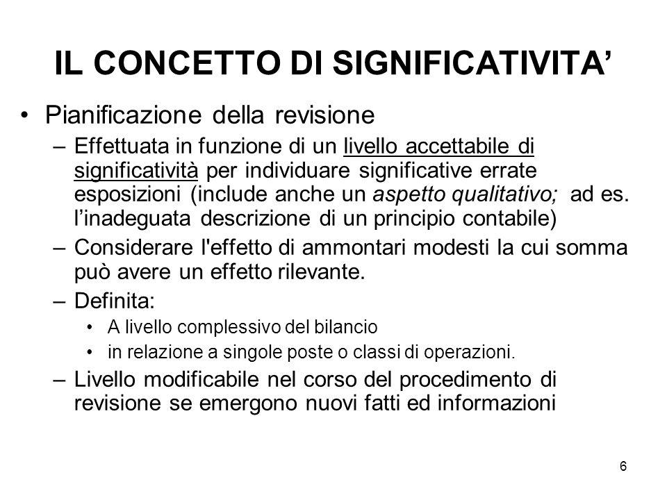 6 IL CONCETTO DI SIGNIFICATIVITA Pianificazione della revisione –Effettuata in funzione di un livello accettabile di significatività per individuare s