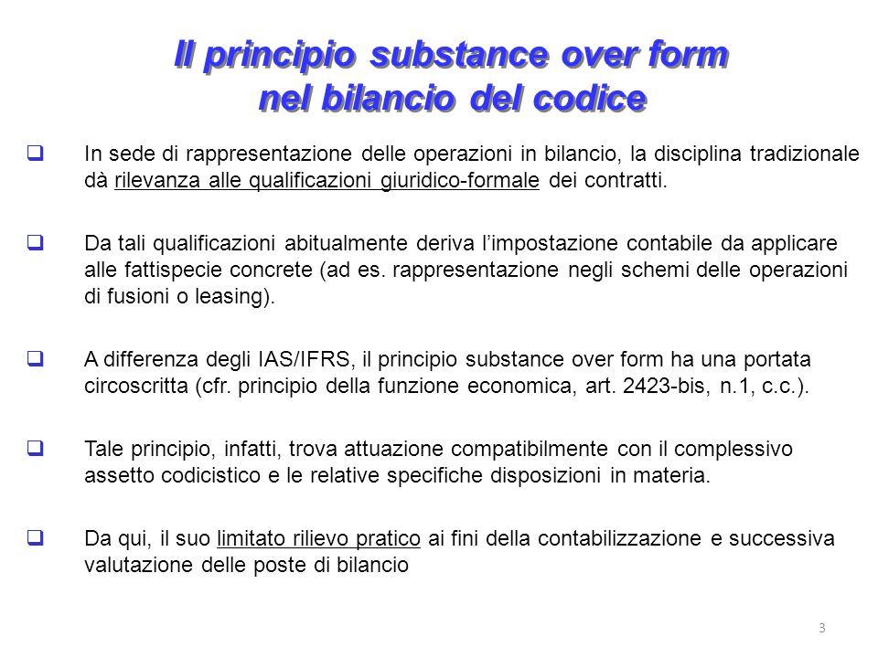 Il principio substance over form nel bilancio del codice In sede di rappresentazione delle operazioni in bilancio, la disciplina tradizionale dà rilevanza alle qualificazioni giuridico-formale dei contratti.