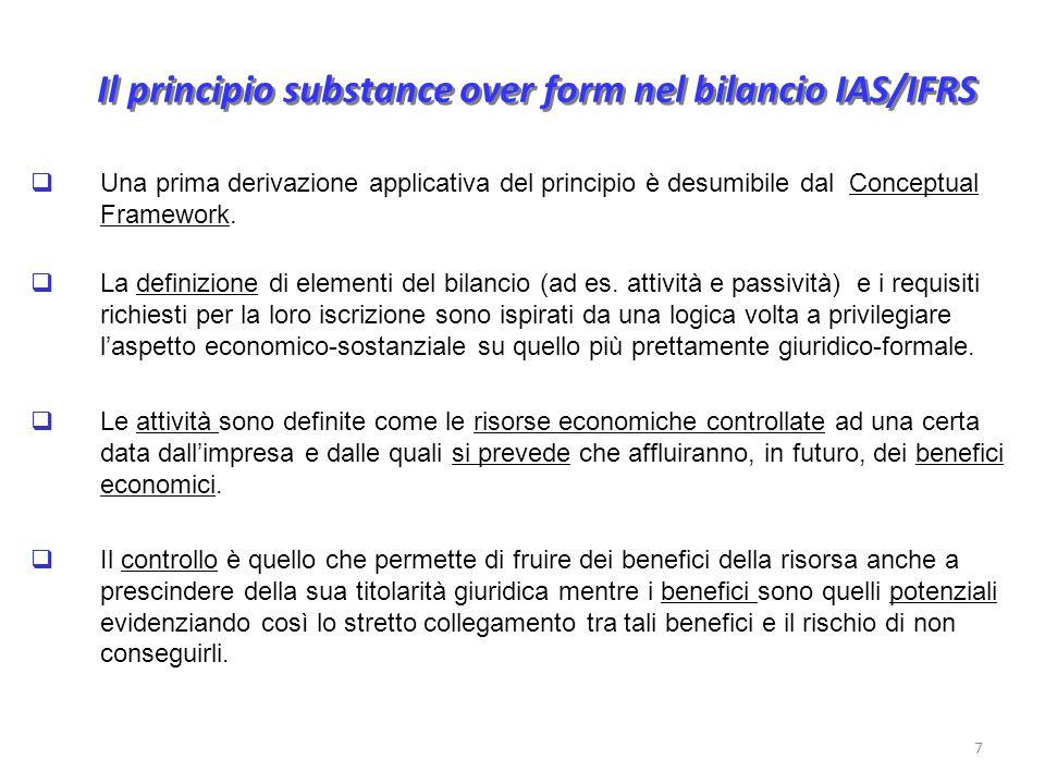 Il principio substance over form nel bilancio IAS/IFRS Una prima derivazione applicativa del principio è desumibile dal Conceptual Framework.