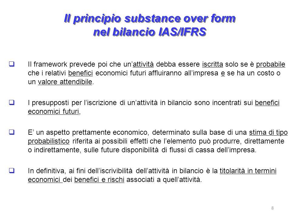 Il principio substance over form nel bilancio IAS/IFRS Il framework prevede poi che unattività debba essere iscritta solo se è probabile che i relativi benefici economici futuri affluiranno allimpresa e se ha un costo o un valore attendibile.