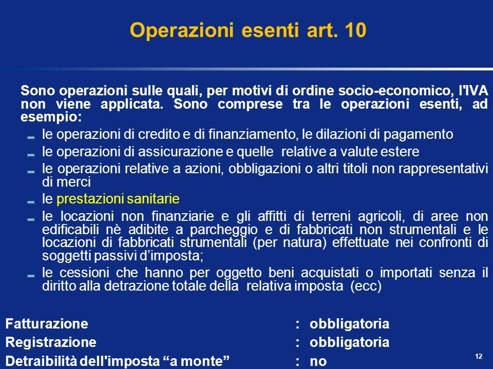 Operazioni non imponibili Non determinano il sorgere del debito dimposta a carico del soggetto passivo, ma comportano per il contribuente una serie di