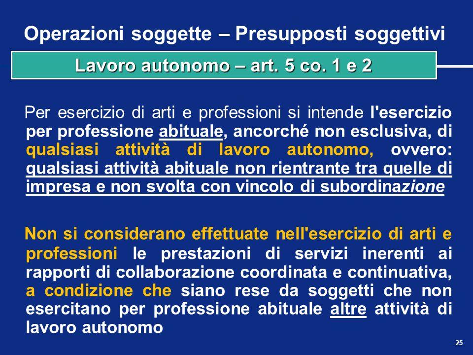 Operazioni soggette – Presupposti soggettivi Si considerano in ogni caso effettuate nell'esercizio di imprese: le cessioni di beni e le prestazioni di