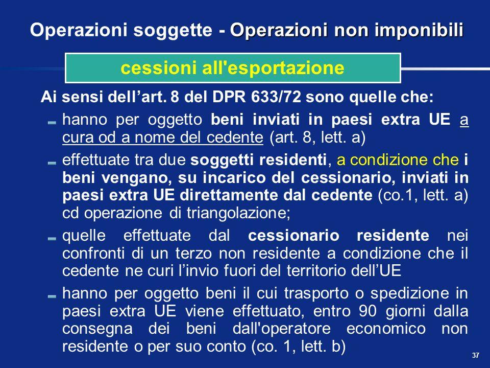36 Presupposto territoriale delle prestazioni di servizi Regola generale Quadro di sintesi: servizi in genere NaturaPrestatoreCommittenteRegola Serviz