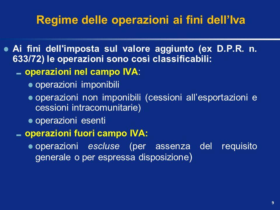 9 Regime delle operazioni ai fini dellIva Ai fini dell imposta sul valore aggiunto (ex D.P.R.