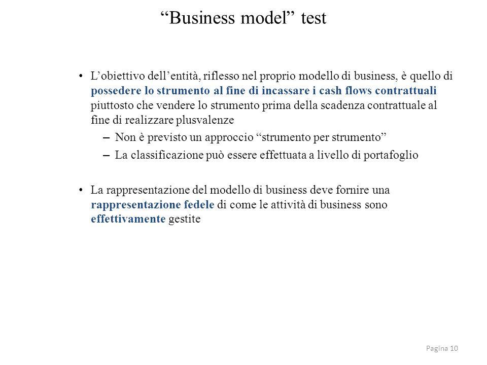 Pagina 10 Business model test Lobiettivo dellentità, riflesso nel proprio modello di business, è quello di possedere lo strumento al fine di incassare