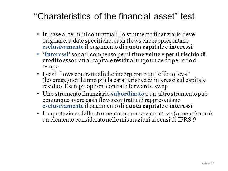 Pagina 14 Charateristics of the financial asset test In base ai termini contrattuali, lo strumento finanziario deve originare, a date specifiche, cash