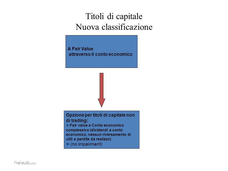 19 novembre 2009 Pagina 19 Titoli di capitale Nuova classificazione A Fair Value attraverso il conto economico Opzione per titoli di capitale non di t