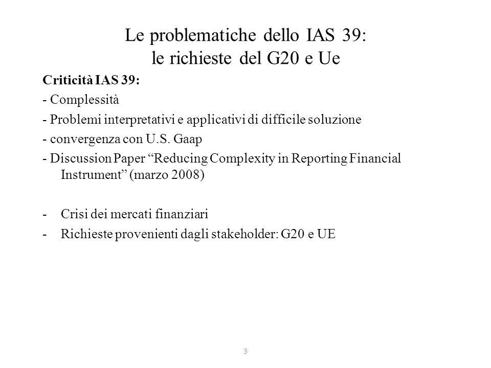 Le problematiche dello IAS 39: le richieste del G20 e Ue Criticità IAS 39: - Complessità - Problemi interpretativi e applicativi di difficile soluzion