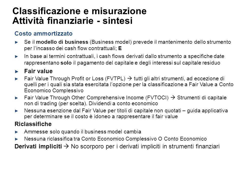 Costo ammortizzato Se il modello di business (Business model) prevede il mantenimento dello strumento per lincasso dei cash flow contrattuali; E In ba