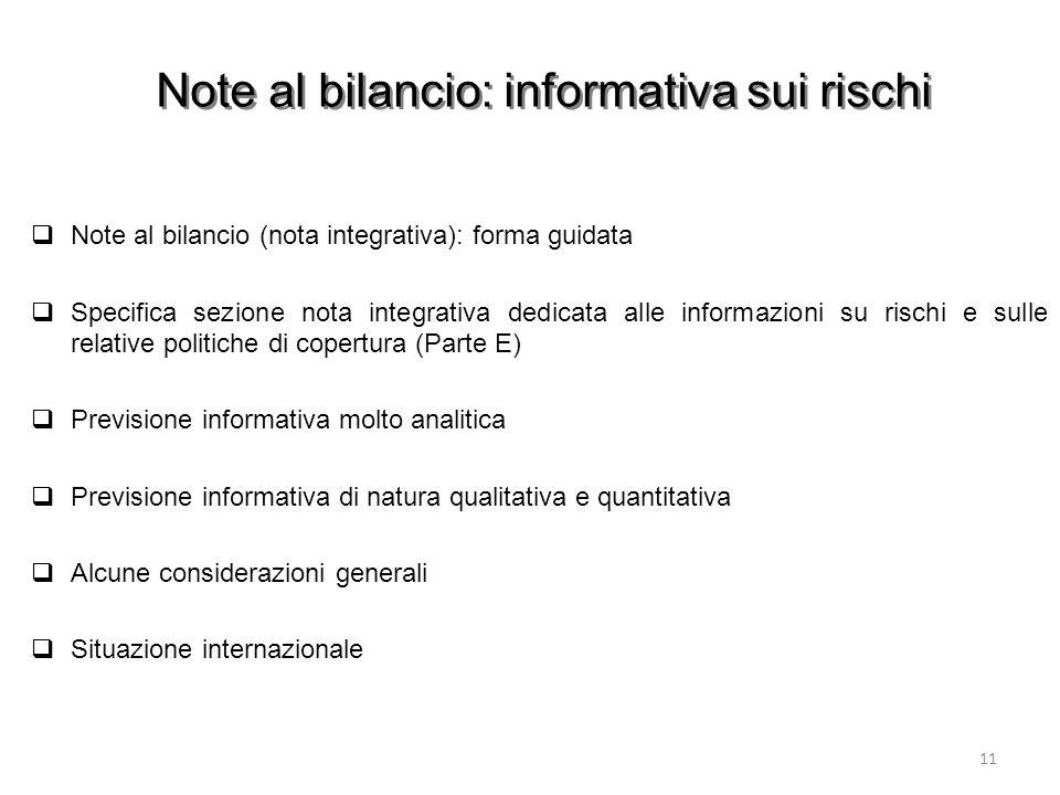 Note al bilancio: informativa sui rischi Note al bilancio (nota integrativa): forma guidata Specifica sezione nota integrativa dedicata alle informazi