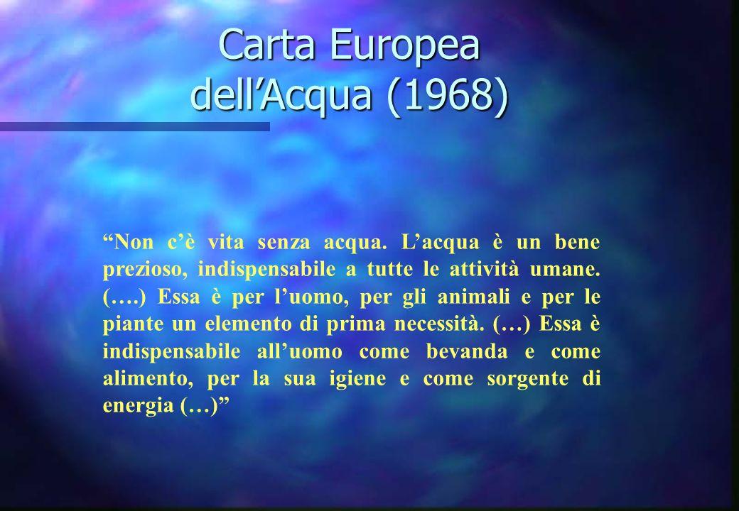 Carta Europea dellAcqua (1968) Non cè vita senza acqua. Lacqua è un bene prezioso, indispensabile a tutte le attività umane. (….) Essa è per luomo, pe