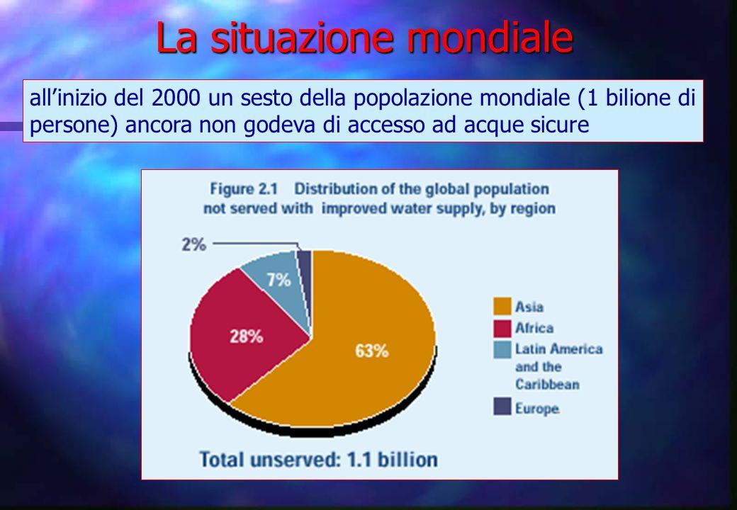 allinizio del 2000 un sesto della popolazione mondiale (1 bilione di persone) ancora non godeva di accesso ad acque sicure La situazione mondiale
