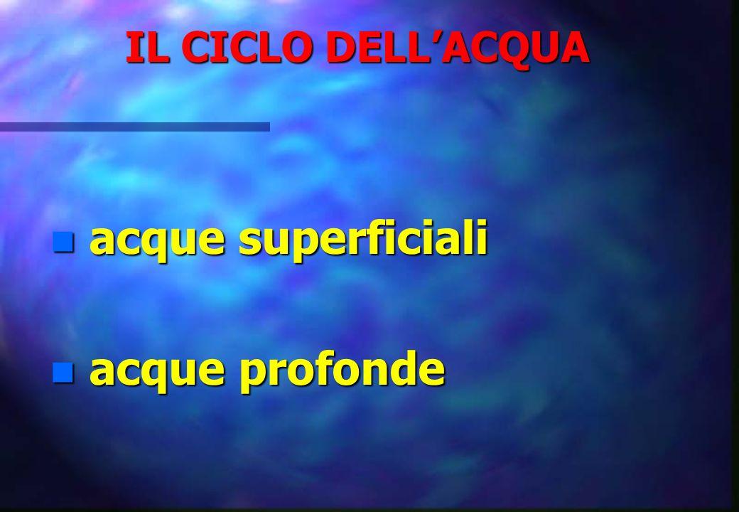 QUALITÀ DELLACQUA n caratteristiche: – organolettiche – fisiche – chimiche – biologiche n acque profonde