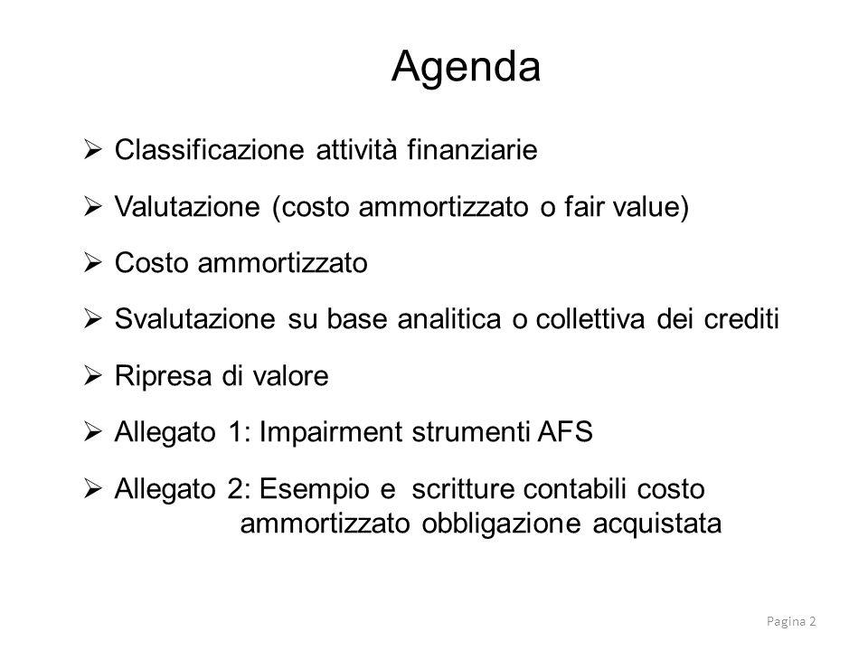 Classificazione attività finanziarie Valutazione (costo ammortizzato o fair value) Costo ammortizzato Svalutazione su base analitica o collettiva dei
