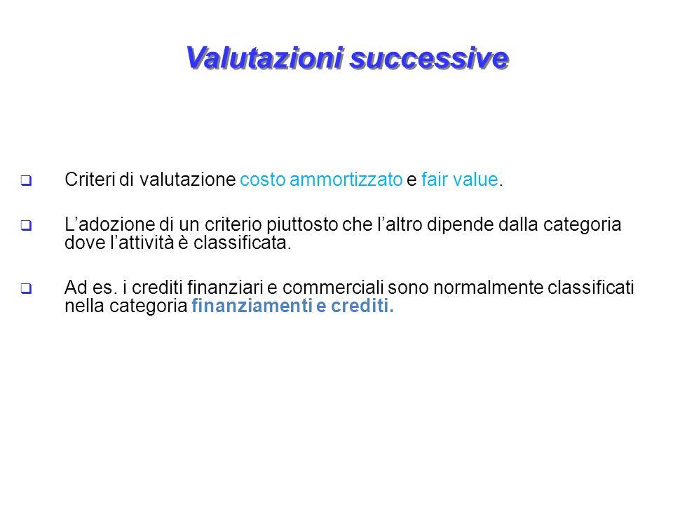 Valutazioni successive Criteri di valutazione costo ammortizzato e fair value. Ladozione di un criterio piuttosto che laltro dipende dalla categoria d