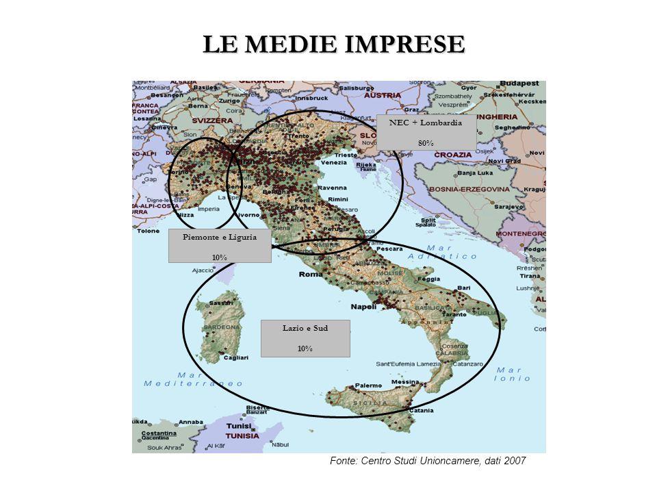 LE MEDIE IMPRESE Piemonte e Liguria 10% NEC + Lombardia 80% Lazio e Sud 10% Fonte: Centro Studi Unioncamere, dati 2007