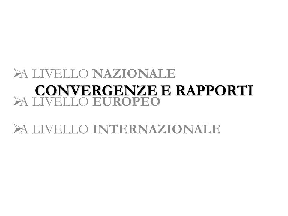 CONVERGENZE E RAPPORTI A LIVELLO NAZIONALE A LIVELLO EUROPEO A LIVELLO INTERNAZIONALE