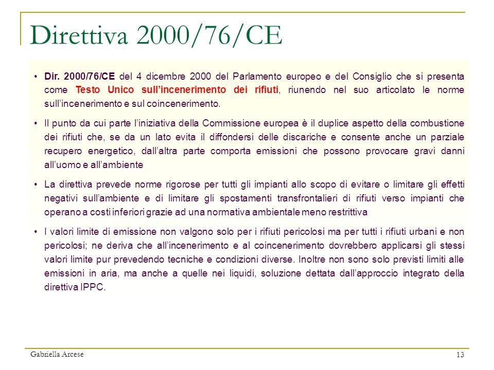 Gabriella Arcese 13 Dir. 2000/76/CE del 4 dicembre 2000 del Parlamento europeo e del Consiglio che si presenta come Testo Unico sullincenerimento dei