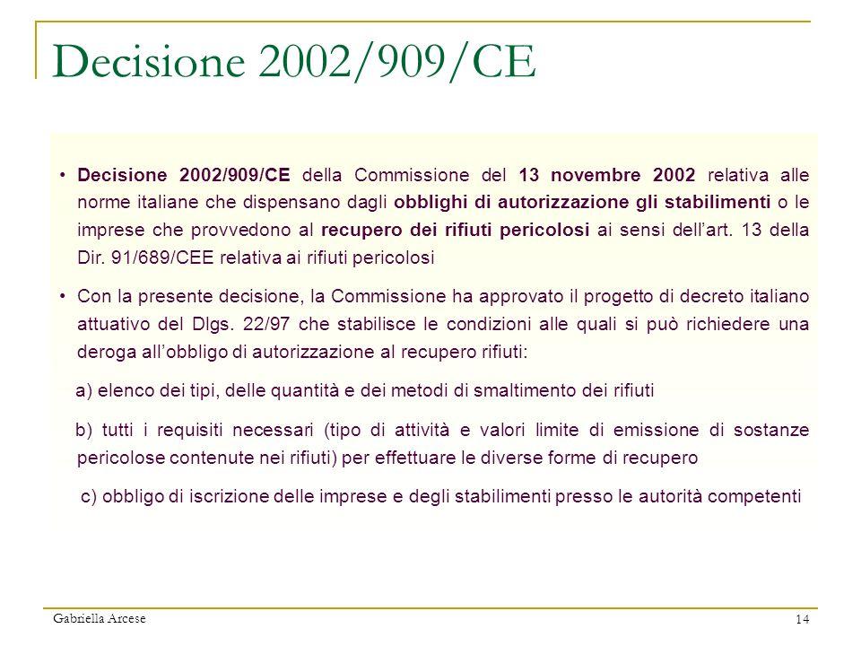 Gabriella Arcese 14 Decisione 2002/909/CE Decisione 2002/909/CE della Commissione del 13 novembre 2002 relativa alle norme italiane che dispensano dag