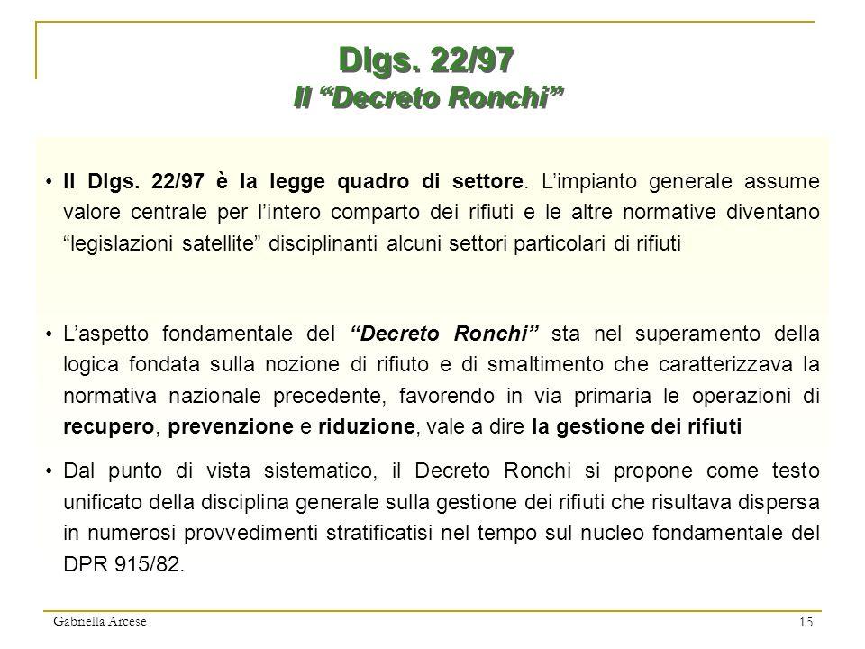 Gabriella Arcese 15 Dlgs. 22/97 Il Decreto Ronchi Dlgs. 22/97 Il Decreto Ronchi Il Dlgs. 22/97 è la legge quadro di settore. Limpianto generale assume
